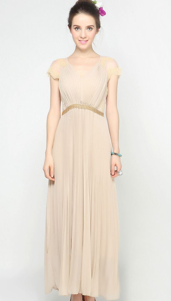 Apricot V-neck Lace Cap Sleeve Beading Pleated Long Chiffon Dress $55.5