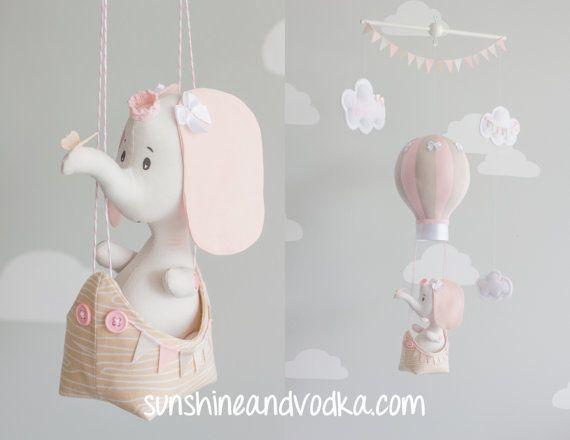 Olifant Baby Mobile hete lucht ballon Mobile door sunshineandvodka