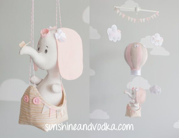 Elephant Floating in a Boat, Hot Air Balloon, Baby Mobile, Elephant Nursery Decor, Travel Theme Mobile, i120