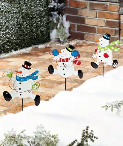 Set Of 3 Metal Snowman Garden Stakes Holiday Christmas Outdoor Yard Decor Ebay Christmas