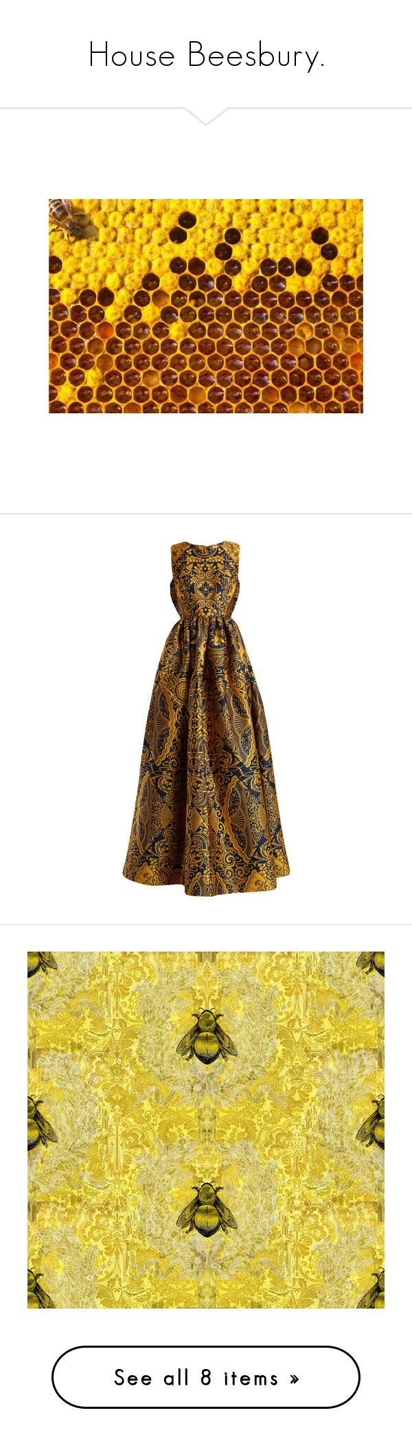 """House Beesbury."" by lillian-pandola ❤ liked on Polyvore featuring backgrounds, dresses, gowns, gold multi, floral print ball gown, floral print evening gown, navy floral dress, floral evening dresses, floral evening gown and home"