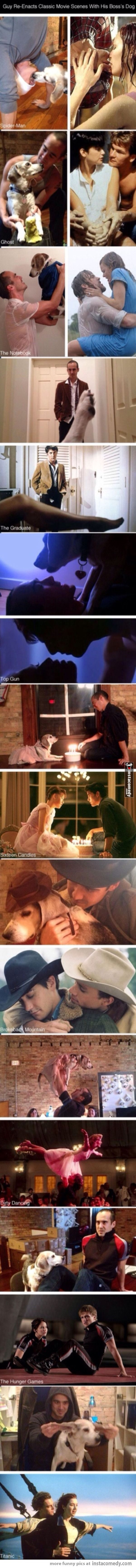 Guy remakes classic movie scenes with boss' dog