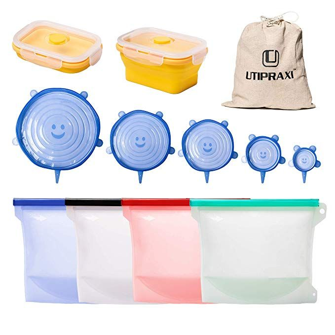 Utipraxi Silicone Food Storage Bags Bundle 4 Reusable Silicone Bags 6 Stretch Lids Bonus Container Leakproof Zi Food Storage Bags Snack Bags Bag Storage