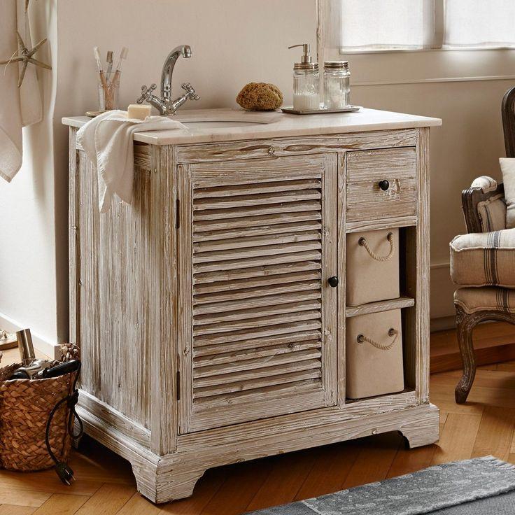 Loberon Waschtisch »Samford« für 1.037,95€. Edle Marmorplatte, Aus wiederaufbereitetem Holz mit natürlicher Patina, Jedes Stück ein Unikat bei OTTO