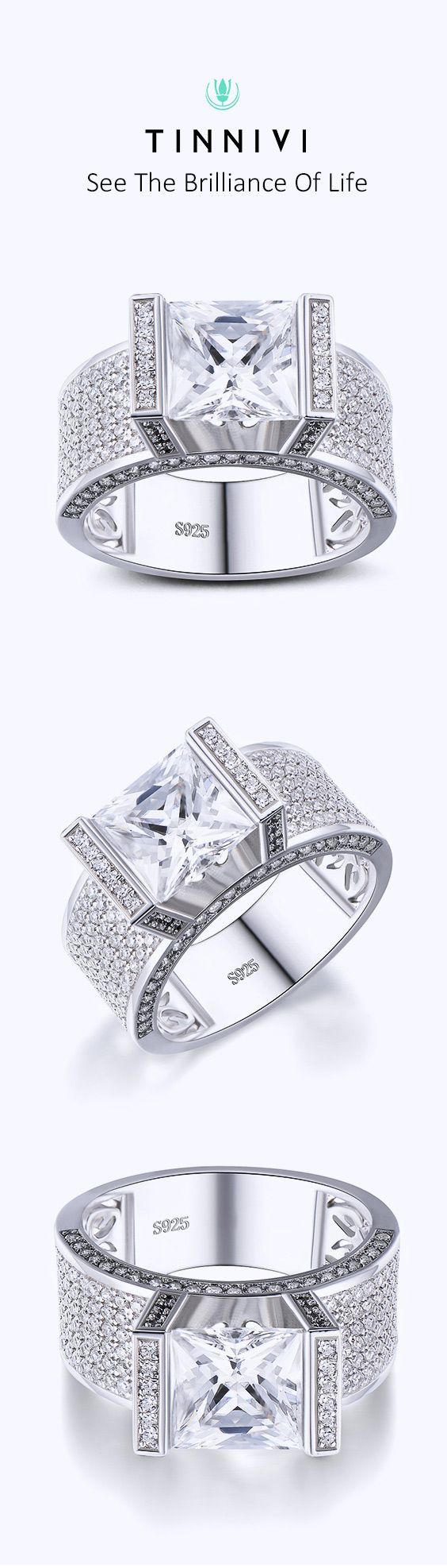 Shop Princess Cut White Sapphire 925 Sterling Silver Engagement Ring online, Tinnivi Jewelry creates quality fine jewelry at gorgeous prices. Shop now! #SterlingSilverEngagement