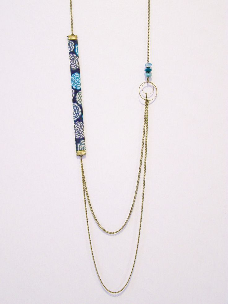 Sautoir liberty double chaîne bleu et anneaux en laiton : Collier par les-bijoux-de-circe