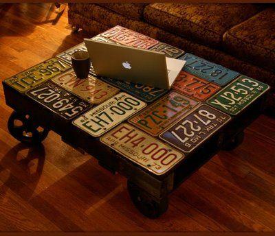 DIY: license plate table #crafts #furniture
