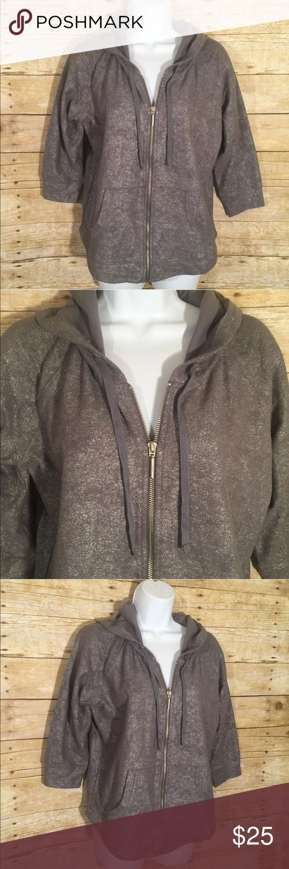 "New York & Company Grey Metallic Hoodie Jacket New with tags. No stains or flaws. Size: Small Chest 20"" Length 24""  Material: Cotton Blend New York & Company Jackets & Coats"