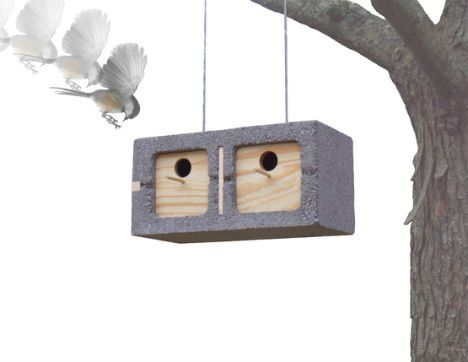 Who knew that cinder blocks could be such fashionable modular bird houses? Sure, they're a bit heavy – strong chains would be a must – but this design by Mathew Zurlinden makes great use of a common waste material and can easily stack into apartment buildings for birds.