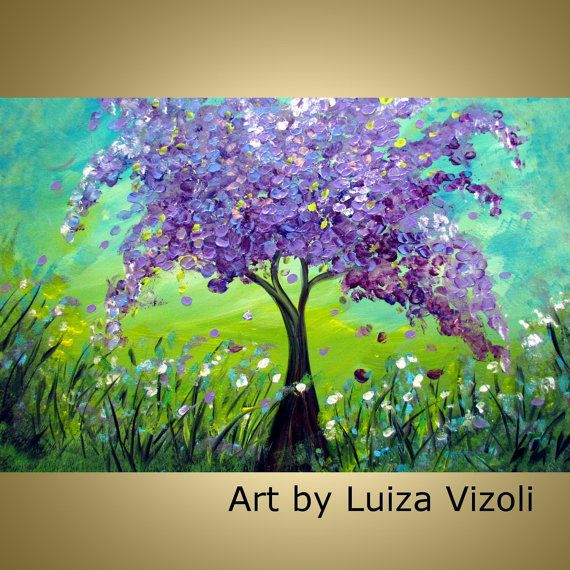 Original modern impressionist oil painting lilac tree for Spring canvas paintings