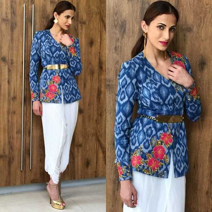 Designer Shilpa Reddy Looks effortlessly elegant, wearing from her own label pochampally Ikkat Jacket paired up with white Dhoti pants she shows how versatile Shilpa Reddy Studio's garments are...  #shilpareddystudio #embroiderydetails #handembroidery #designerwear #streetstyle #indianfashionblogger #indowestern #minimalisticlook #pochampally #ikkat #indianweave #indianhandloom #dhotipants #minimalistic #versatilegarment #stylingtips #shilpareddy