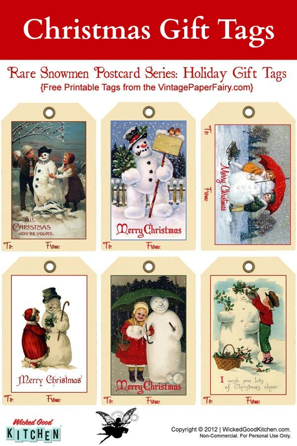Snowman Holiday Gift Tags {free printable} ~ Sweet vintage snowman postcard series for Christmas holiday gift tags.