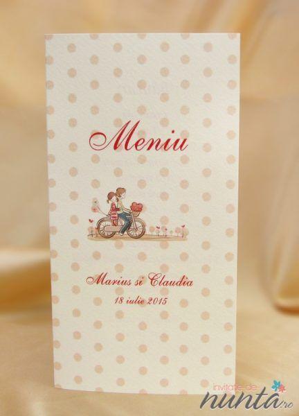 Meniu de nunta crem, texturat cu buline si miri pe bicicleta.