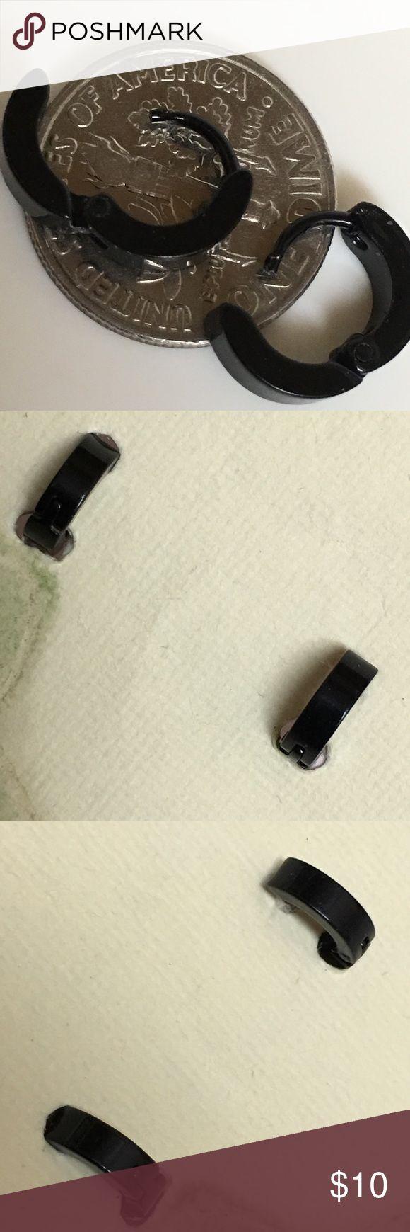 Small Black stainless steel huggie earrings