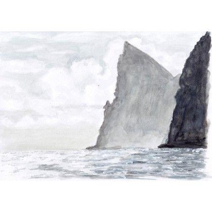 Nihoa from the Sea, Hawaii #watercolor