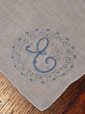 Em's Heart Antique Linens -Vintage Linen Madeira Embroidered Monogram Handkerchief