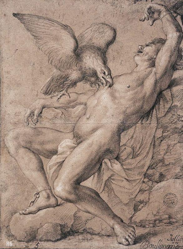 Prometheus bound. 1670. drawing. Louis Boullonge Young.: