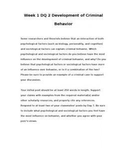 CRJ308   CRJ 308   Week 1 DQ 2 Development of Criminal Behavior --> http://www.scribd.com/doc/148413867/crj308-crj-308-week-1-dq-2-development-of-criminal-behavior