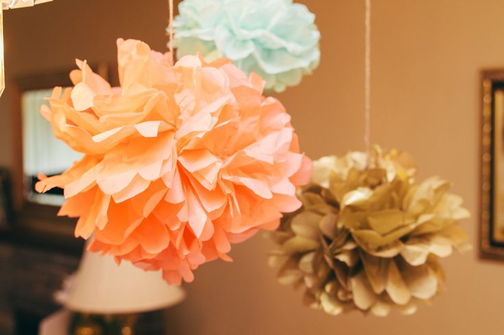 Tissue pompoms in pink, mint & gold!
