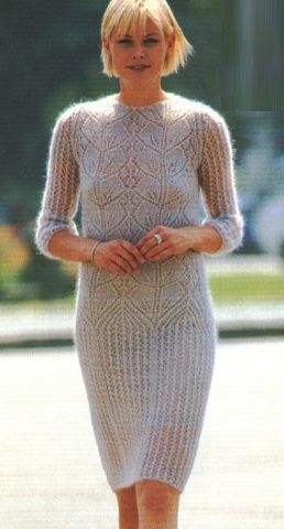 Lace Leaf Mohair Dress Knitting Pattern. Шикарное, ажурное, мохеровое платье, с заниженной линией талии, вяжется спицами. Схема узора графичных листьев, описание вязания и идея вечернего туалета под катом. More Great Patterns Like This