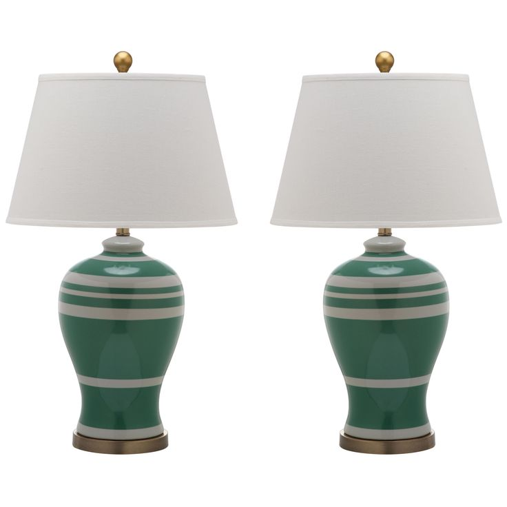 stripe ginger jar green table lamp set of 2 laylagrayce