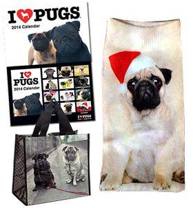 CRIMBO SHOPPER DEAL pug shopper bag 2014 I Love Pug calendar Christmas pug socks ALL FOR £20/$30USD/€23 from www.ilovepugs.co.uk post worldwide