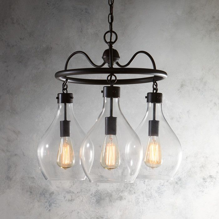 Features:  Product Type: -Mini chandelier/Shaded Chandelier.  Finish: -Oiled bronze.  Material: -Metal.  Number of Lights: -3.  Wattage: -60 Watts.  Bulb Type: -Incandescent/LED/Compact fluorescent (C