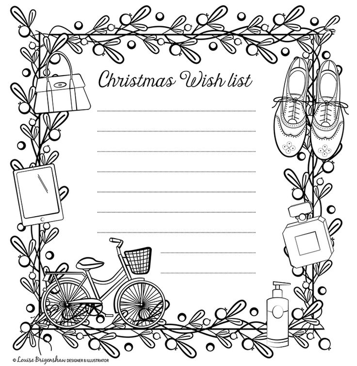 Christmas wish list for Colour.In magazine. Illustrated by Louise Brigenshaw