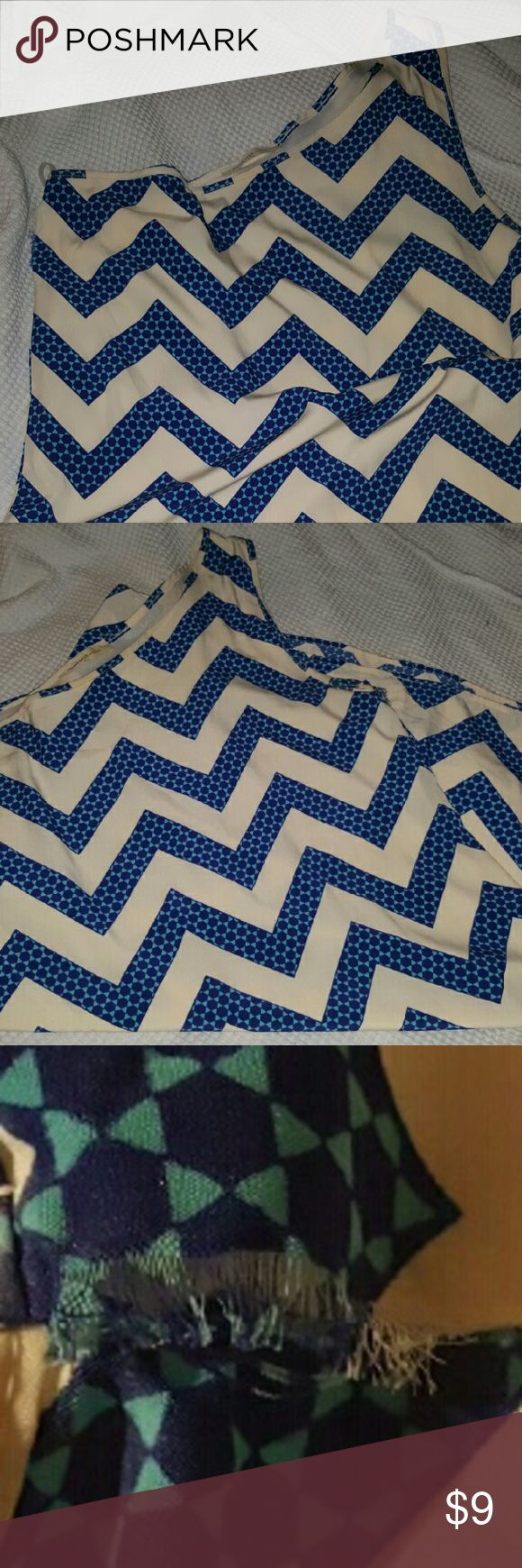 Off the shoulder Chevron Print Dress Cute one shoulder Chevron dress. Very small rip in the seam under the arm. This item was worn once. Newberry Kuston Dresses Mini