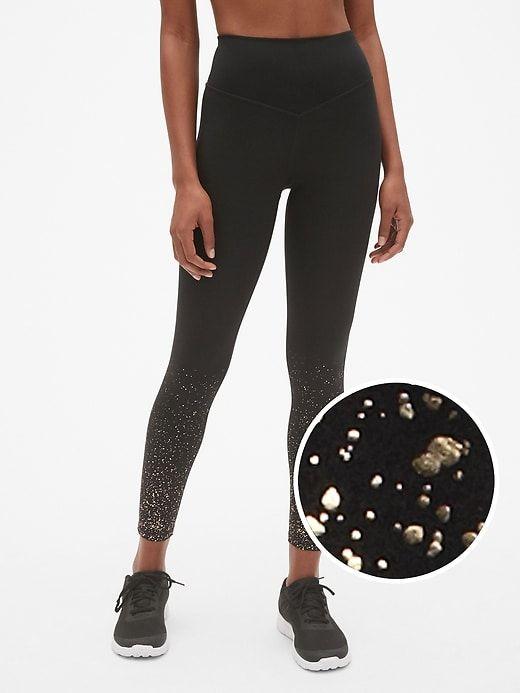 a6299cb341 Gap Womens Gfast High Rise Blackout Metallic Ombre Leggings True Black