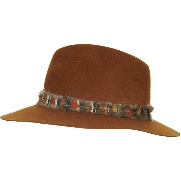 TOPSHOP Feather Band Fedora Hat ($27) ❤ liked on Polyvore featuring accessories, hats, tobacco, band hats, topshop, fedora hat, brimmed hat y feather hat