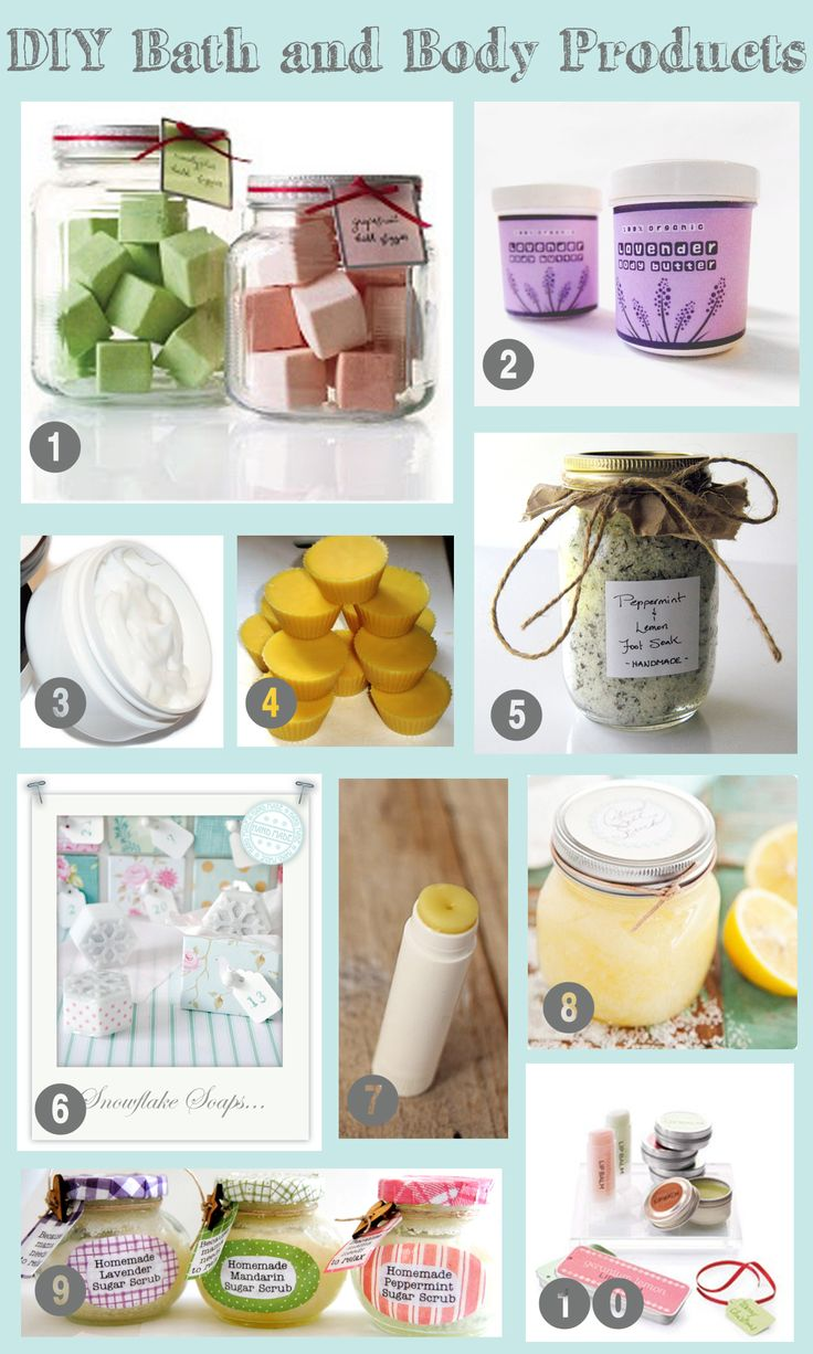 20 DIY Bath and Body Products- Great for Mothers Day gifts!