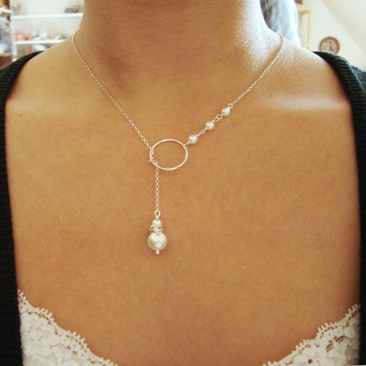 Sterling Silver and Pearl Lariat Necklace, Bridesmaid Necklace, Lush Pearl Collection. $36.00, via Etsy.