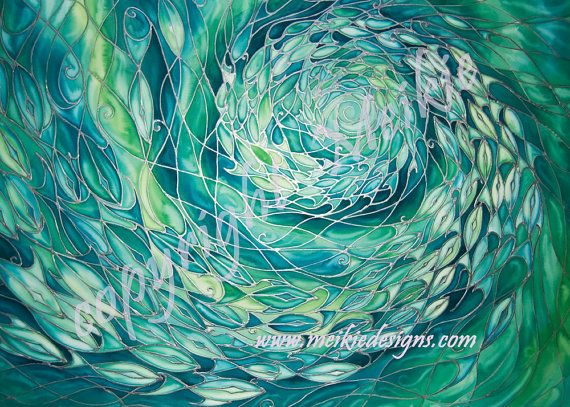 Fish In Sea Silk Painting Print  from Original by MeikieDesigns