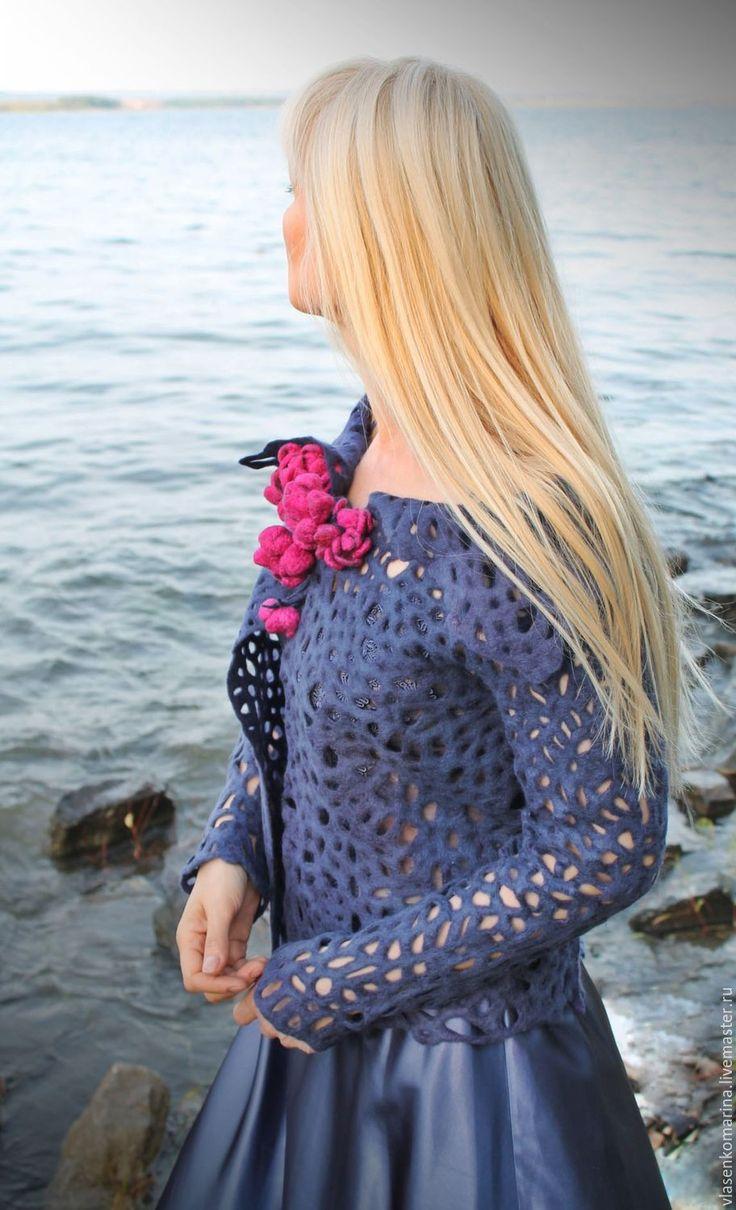 Купить Жакет валяный Виолетта - тёмно-фиолетовый, однотонный, ажурный узор, ажурный жакет