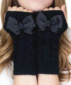 Black Bow Fingerless Mittens