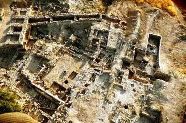 Aerial view of excavations at Hazor
