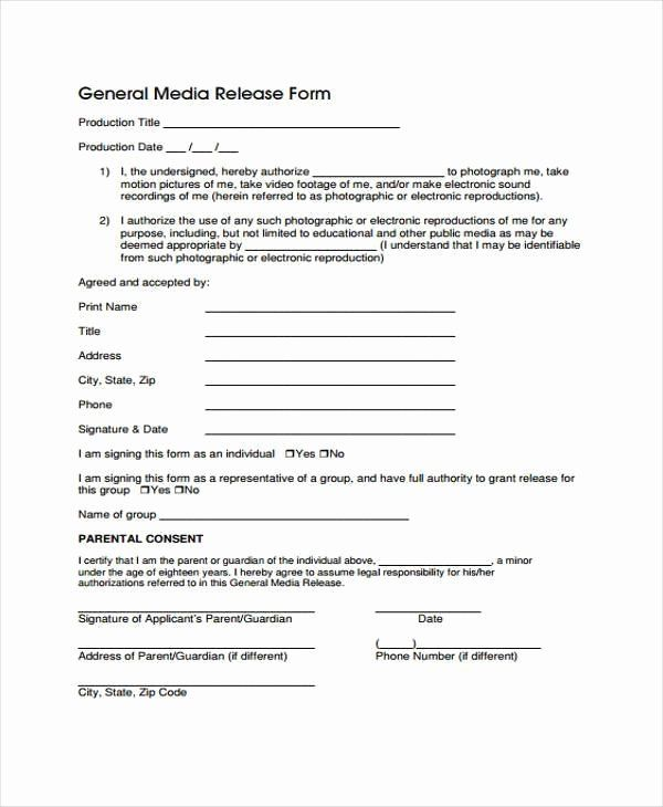 Standard Media Release Form Template Beautiful Release Form
