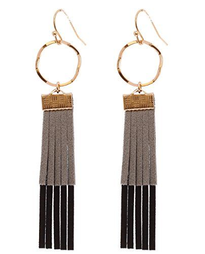 4804484310645a Women's Round Hoop Faux Leather Fringe Dangle Pierced Earrings, Black/Gold-Tone  This is considered fashion jewelry; color may fade over time without proper  ...