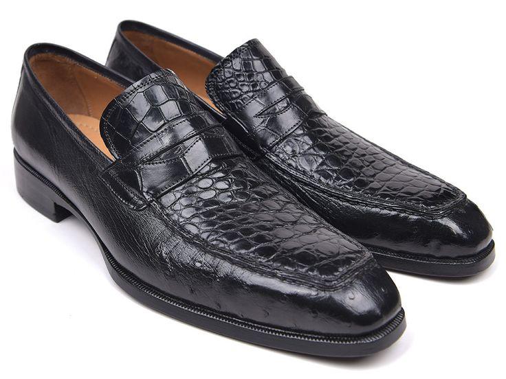 Penny Loafers Black Genuine Crocodile & Ostrich PRO Quality