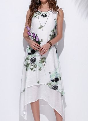 Vestidos Algodón Lino Floral Asimétrico Manga corta (1040546) @ floryday.com