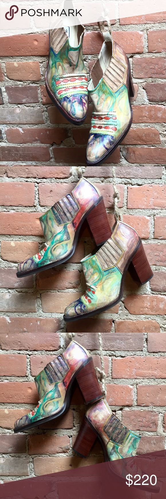 Hand Painted Reworked Vintage Boho Cowboy Boots These rad cowboy boots were lovingly hand painted with paints specific to leather. The turquoises, greens, blues and purples that I used interact and intertwine with each other, creating organic shapes. The shoes are one of a kind and differ slightly from each other, which to me adds a special touch. I left some of the boot it's natural tan, so that the raw beauty of the leather could show through as well!  These shoes are really an abstract…