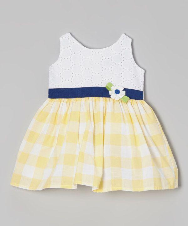 Yellow gingham toddler dress