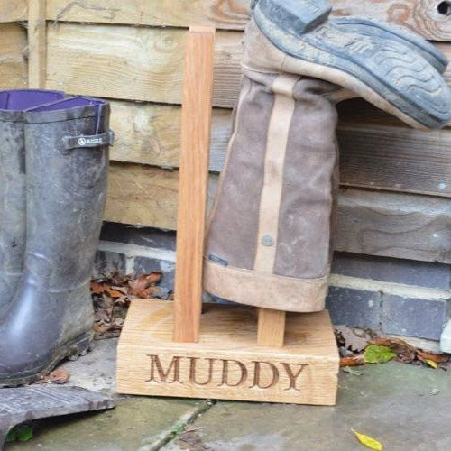 Two Pair Personalised Oak Welly Boot Rack £185 https://www.giftwrappedandgorgeous.com/two-pair-personalised-oak-welly-boot-rack-22253
