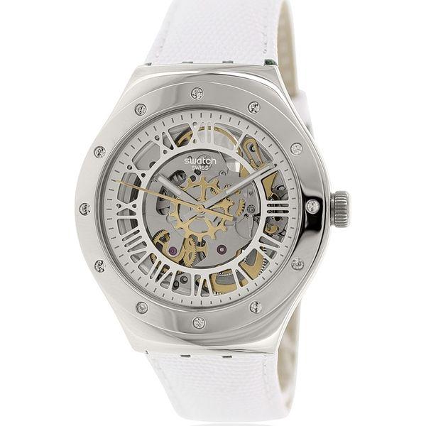 Swatch Women's Irony YAS109 White Leather Swiss Automatic Watch