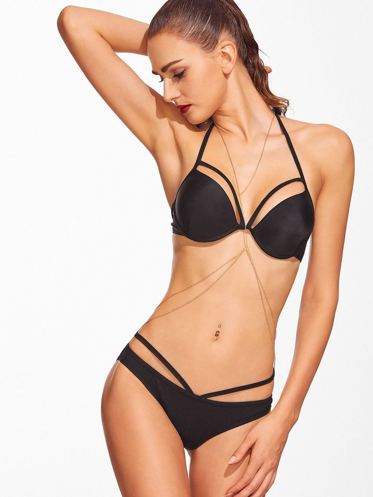 Black Cutout Push-Up Bikini Set