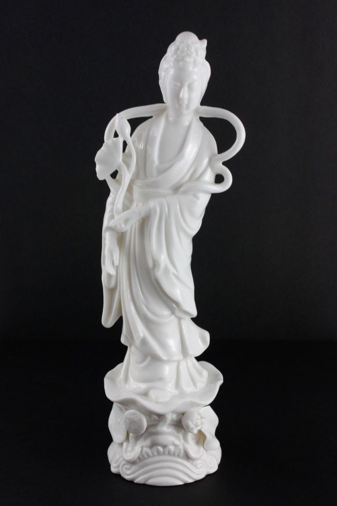 Vintage Quan Yin Figurine White Porcelain Asian Goddess