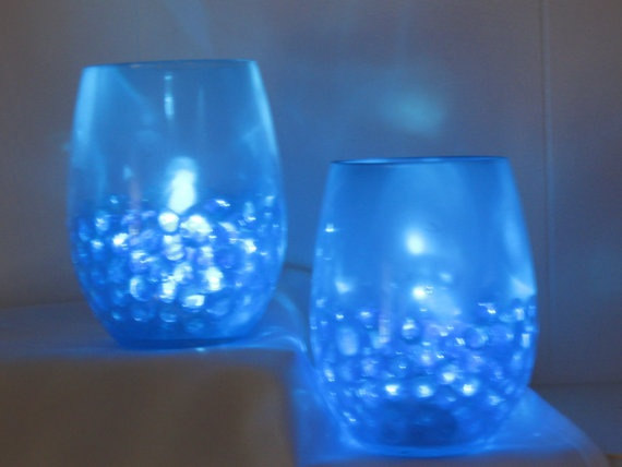 Simple u0026 affordable centerpiece idea - submersible LED lights with gel  marbles in multiple smaller glass containers: Use our