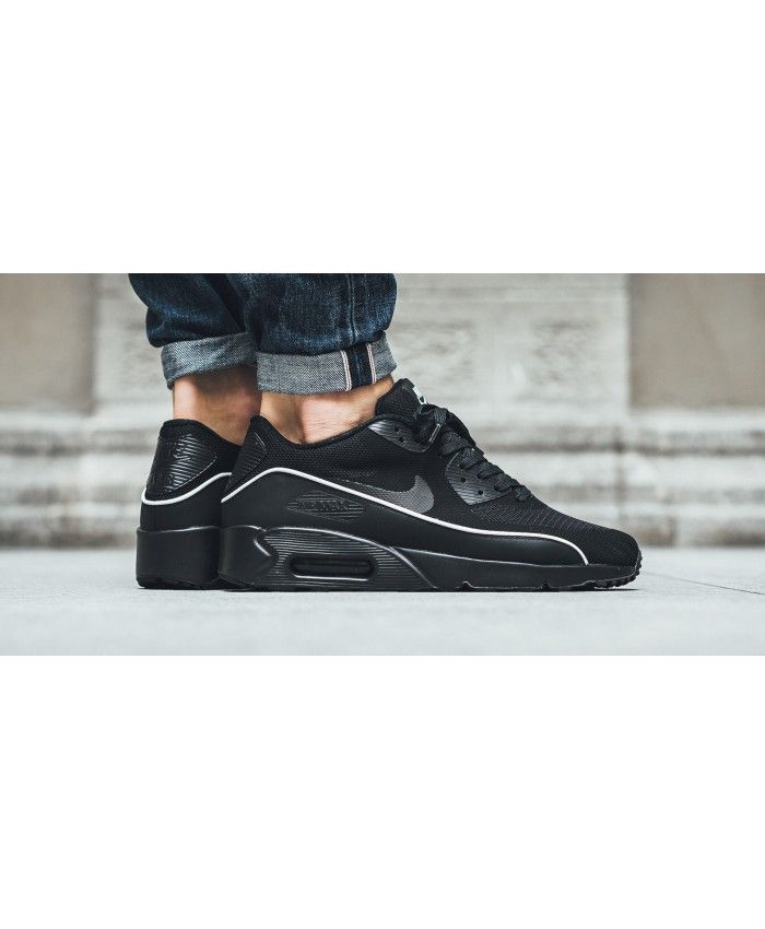 newest 8dca2 77c1e Nike Air Max 90 Ultra Essential All Black White Line Shoes Sale