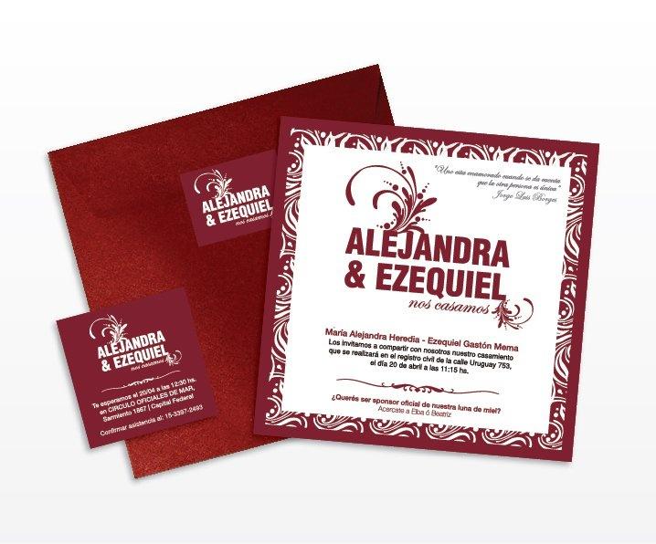 Invitaciones de casamiento de Ale y lolo.    Wedding's card